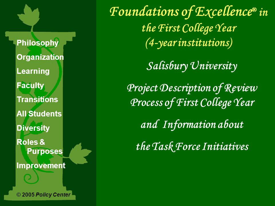 Foundations of Excellence ® in the First College Year (4-year institutions) Salisbury University Project Description of Review Process of First College Year and Information about the Task Force Initiatives Philosophy Organization Learning Faculty Transitions All Students Diversity Roles & Purposes Improvement © 2005 Policy Center