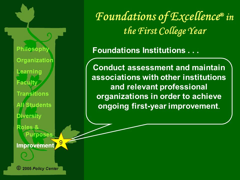 Conduct assessment and maintain associations with other institutions and relevant professional organizations in order to achieve ongoing first-year improvement.