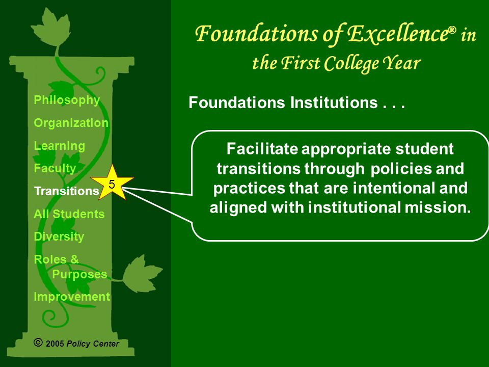 Facilitate appropriate student transitions through policies and practices that are intentional and aligned with institutional mission.