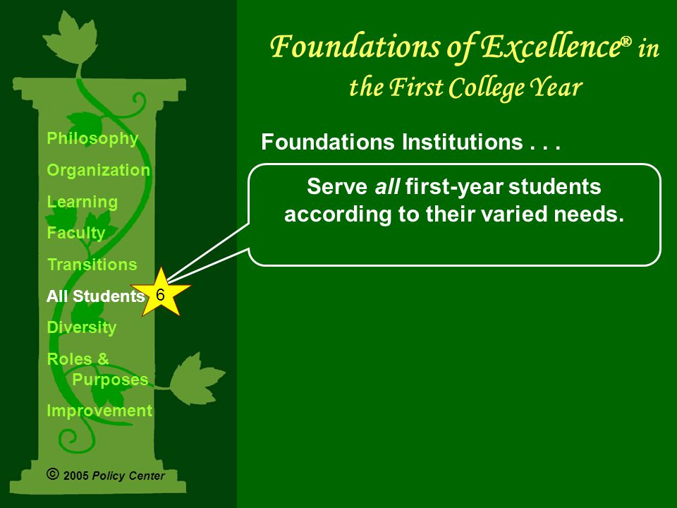 Serve all first-year students according to their varied needs.