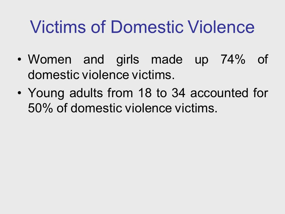 Victims of Domestic Violence 53% of domestic violence victims were White, however the victimization rate for Non-Whites was 67% higher than for Whites.
