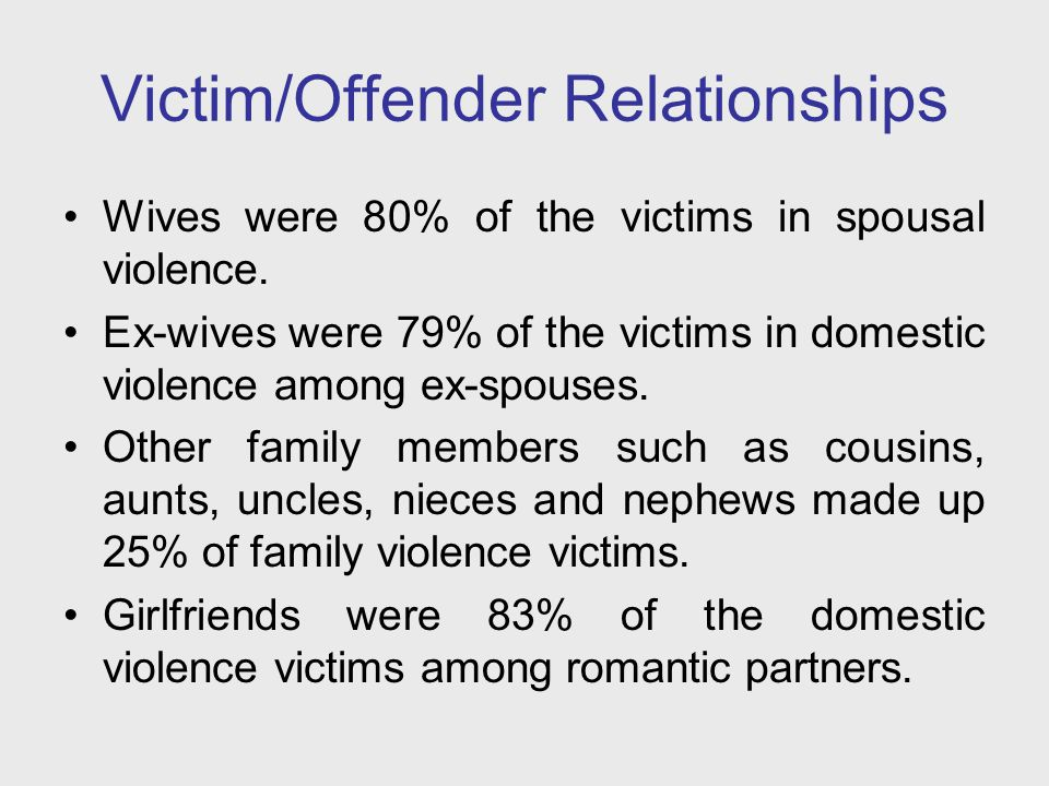 Victim/Offender Relationships Wives were 80% of the victims in spousal violence. Ex-wives were 79% of the victims in domestic violence among ex-spouse