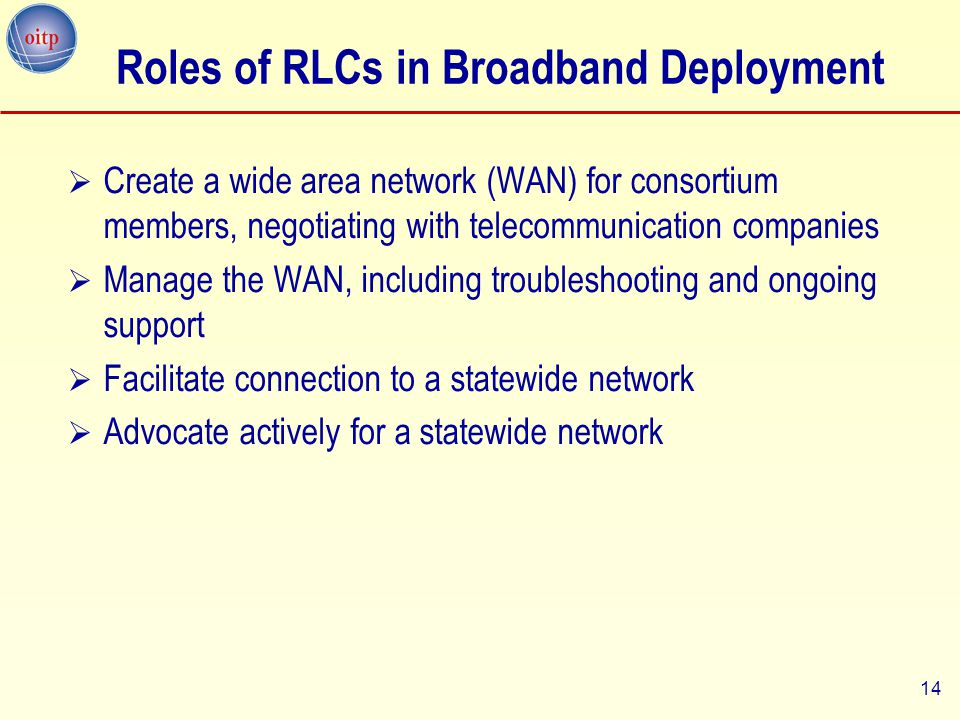 14 Roles of RLCs in Broadband Deployment  Create a wide area network (WAN) for consortium members, negotiating with telecommunication companies  Man