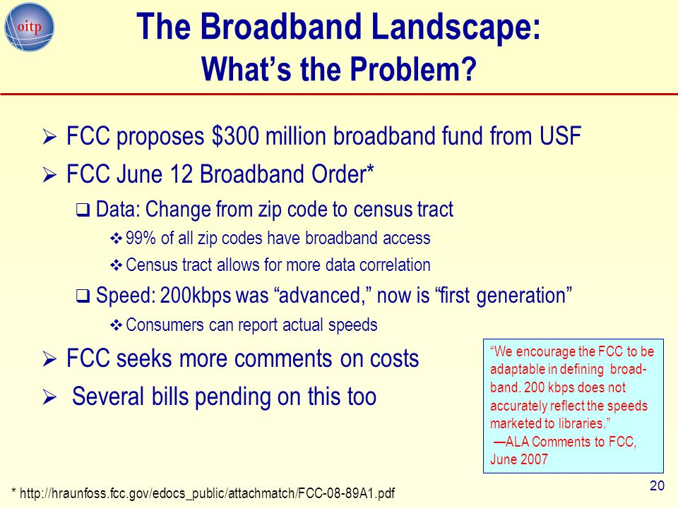 20 The Broadband Landscape: What's the Problem.