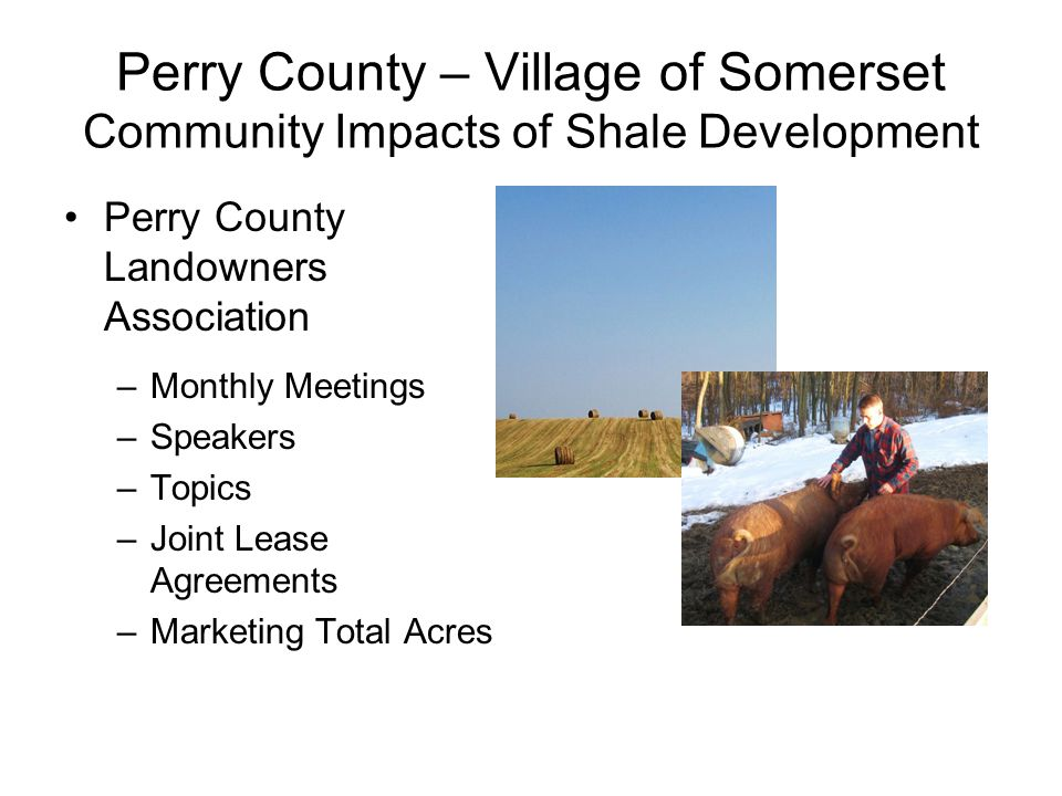 Perry County – Village of Somerset Community Impacts of Shale Development Perry County Landowners Association –Monthly Meetings –Speakers –Topics –Joint Lease Agreements –Marketing Total Acres