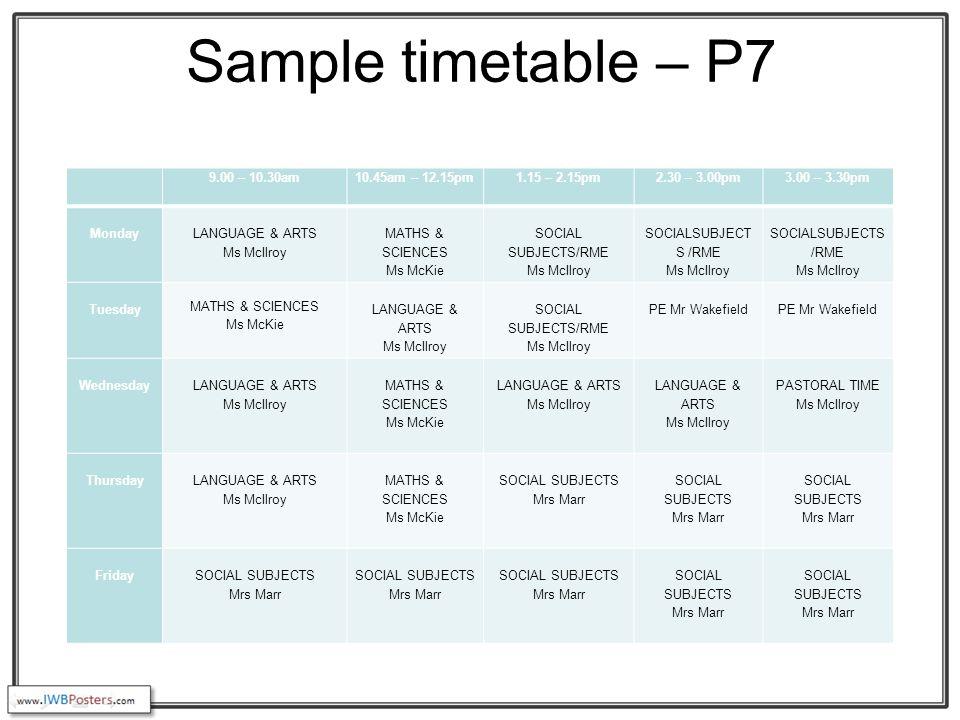 Sample timetable – P7 9.00 – 10.30am10.45am – 12.15pm1.15 – 2.15pm2.30 – 3.00pm3.00 – 3.30pm Monday LANGUAGE & ARTS Ms McIlroy MATHS & SCIENCES Ms McKie SOCIAL SUBJECTS/RME Ms McIlroy SOCIALSUBJECT S /RME Ms McIlroy SOCIALSUBJECTS /RME Ms McIlroy Tuesday MATHS & SCIENCES Ms McKie LANGUAGE & ARTS Ms McIlroy SOCIAL SUBJECTS/RME Ms McIlroy PE Mr Wakefield PE Mr Wakefield Wednesday LANGUAGE & ARTS Ms McIlroy MATHS & SCIENCES Ms McKie LANGUAGE & ARTS Ms McIlroy LANGUAGE & ARTS Ms McIlroy PASTORAL TIME Ms McIlroy Thursday LANGUAGE & ARTS Ms McIlroy MATHS & SCIENCES Ms McKie SOCIAL SUBJECTS Mrs Marr SOCIAL SUBJECTS Mrs Marr SOCIAL SUBJECTS Mrs Marr Friday SOCIAL SUBJECTS Mrs Marr SOCIAL SUBJECTS Mrs Marr SOCIAL SUBJECTS Mrs Marr SOCIAL SUBJECTS Mrs Marr SOCIAL SUBJECTS Mrs Marr