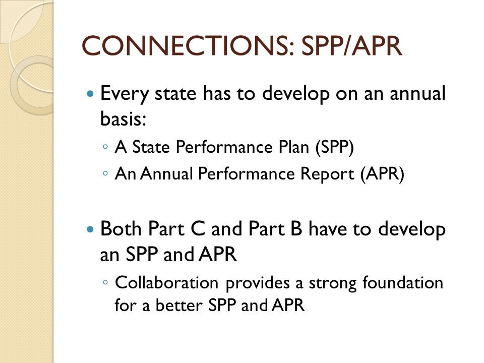 CONNECTIONS: SPP/APR Every state has to develop on an annual basis: ◦ A State Performance Plan (SPP) ◦ An Annual Performance Report (APR) Both Part C