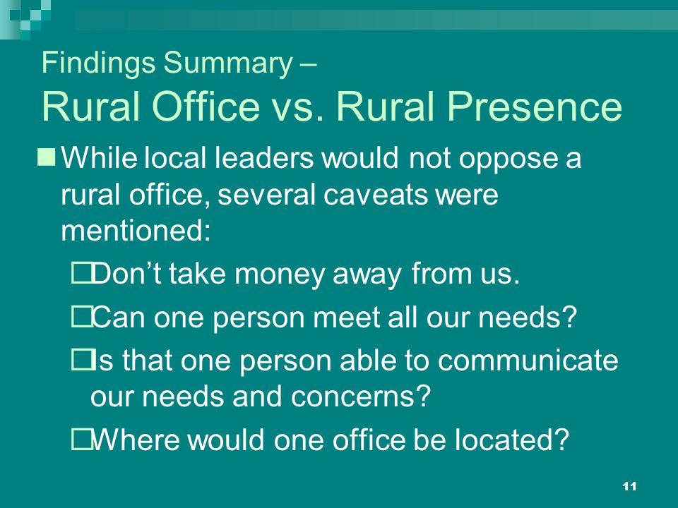 11 Findings Summary – Rural Office vs.