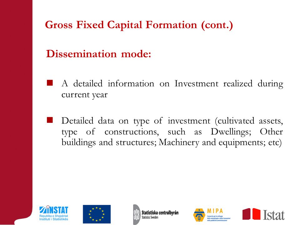 Gross Fixed Capital Formation (cont.) Dissemination mode: A detailed information on Investment realized during current year Detailed data on type of investment (cultivated assets, type of constructions, such as Dwellings; Other buildings and structures; Machinery and equipments; etc)