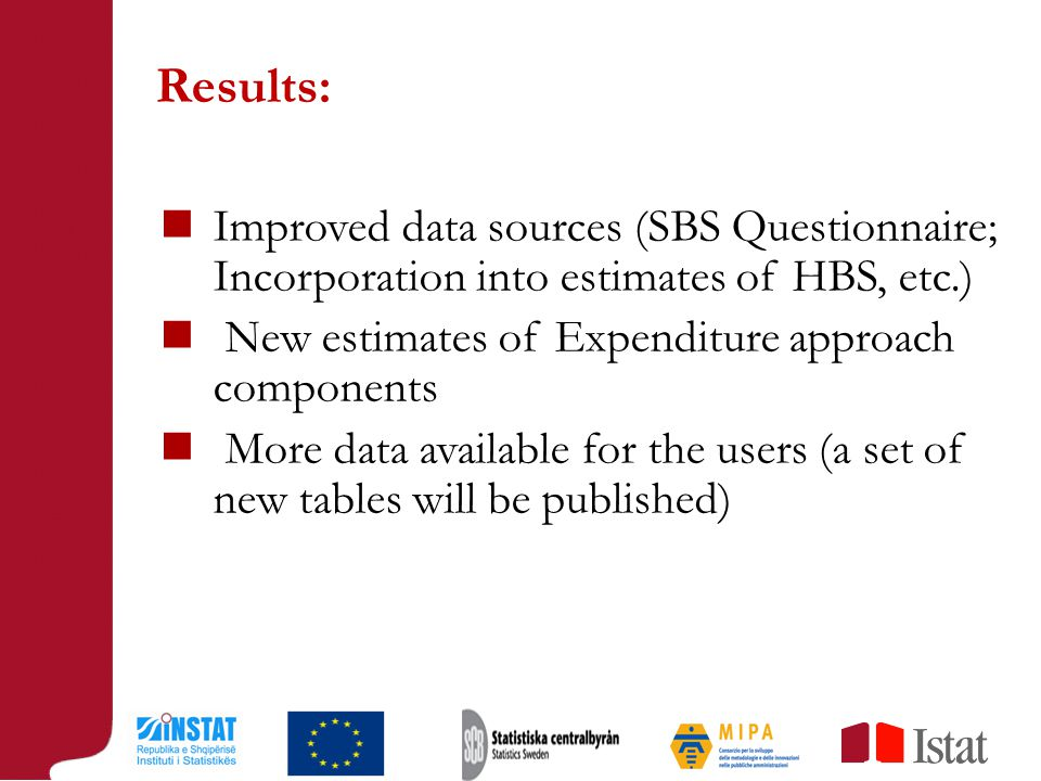 Results: Improved data sources (SBS Questionnaire; Incorporation into estimates of HBS, etc.) New estimates of Expenditure approach components More data available for the users (a set of new tables will be published)