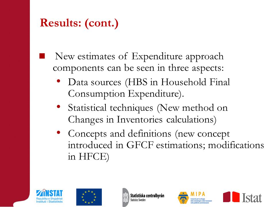 Results: (cont.) New estimates of Expenditure approach components can be seen in three aspects: Data sources (HBS in Household Final Consumption Expenditure).