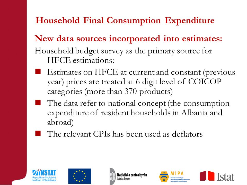 Household Final Consumption Expenditure New data sources incorporated into estimates: Household budget survey as the primary source for HFCE estimations: Estimates on HFCE at current and constant (previous year) prices are treated at 6 digit level of COICOP categories (more than 370 products) The data refer to national concept (the consumption expenditure of resident households in Albania and abroad) The relevant CPIs has been used as deflators