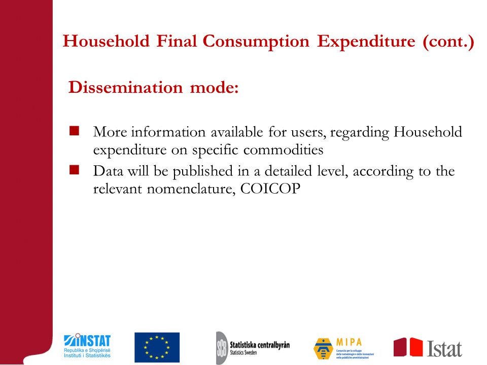 Dissemination mode: More information available for users, regarding Household expenditure on specific commodities Data will be published in a detailed level, according to the relevant nomenclature, COICOP Household Final Consumption Expenditure (cont.)
