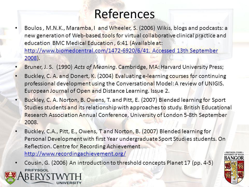 References Boulos, M.N.K., Maramba, I and Wheeler, S.