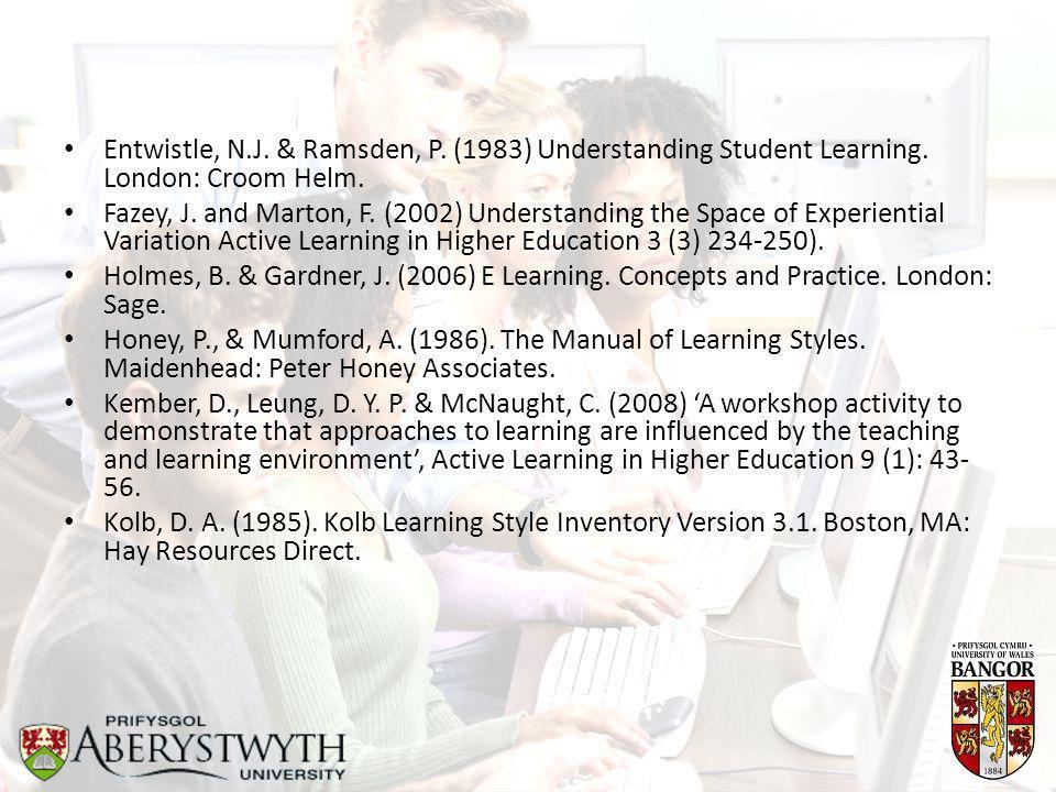 Entwistle, N.J. & Ramsden, P. (1983) Understanding Student Learning.