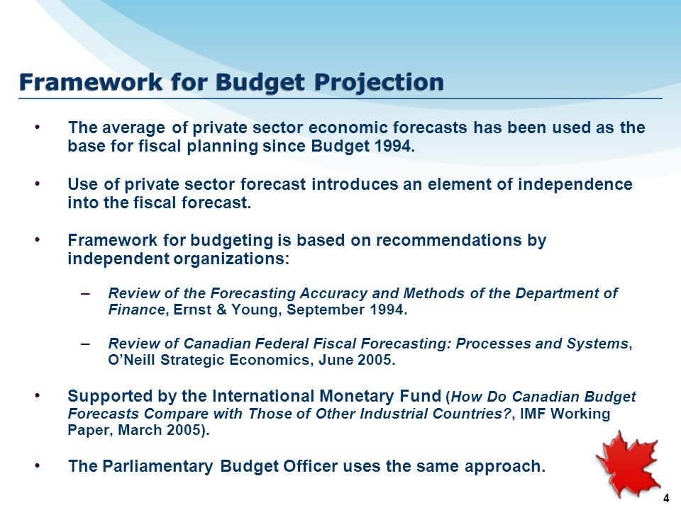 4 Framework for Budget Projection The average of private sector economic forecasts has been used as the base for fiscal planning since Budget 1994.