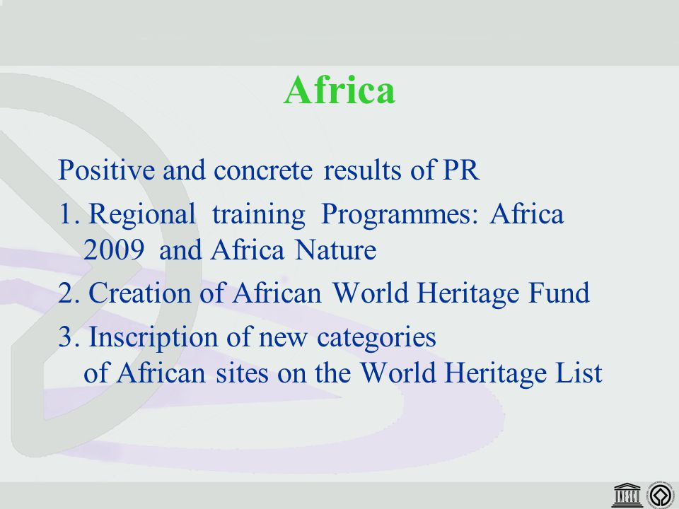 Africa Positive and concrete results of PR 1.