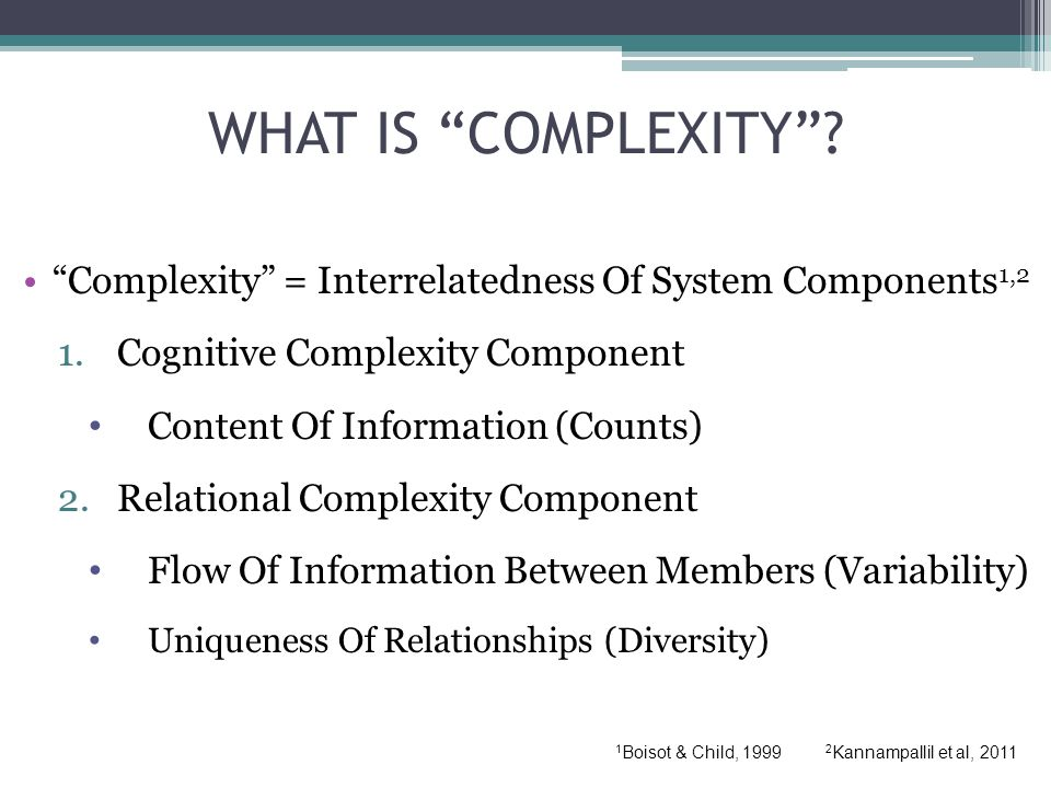 WHAT IS COMPLEXITY .