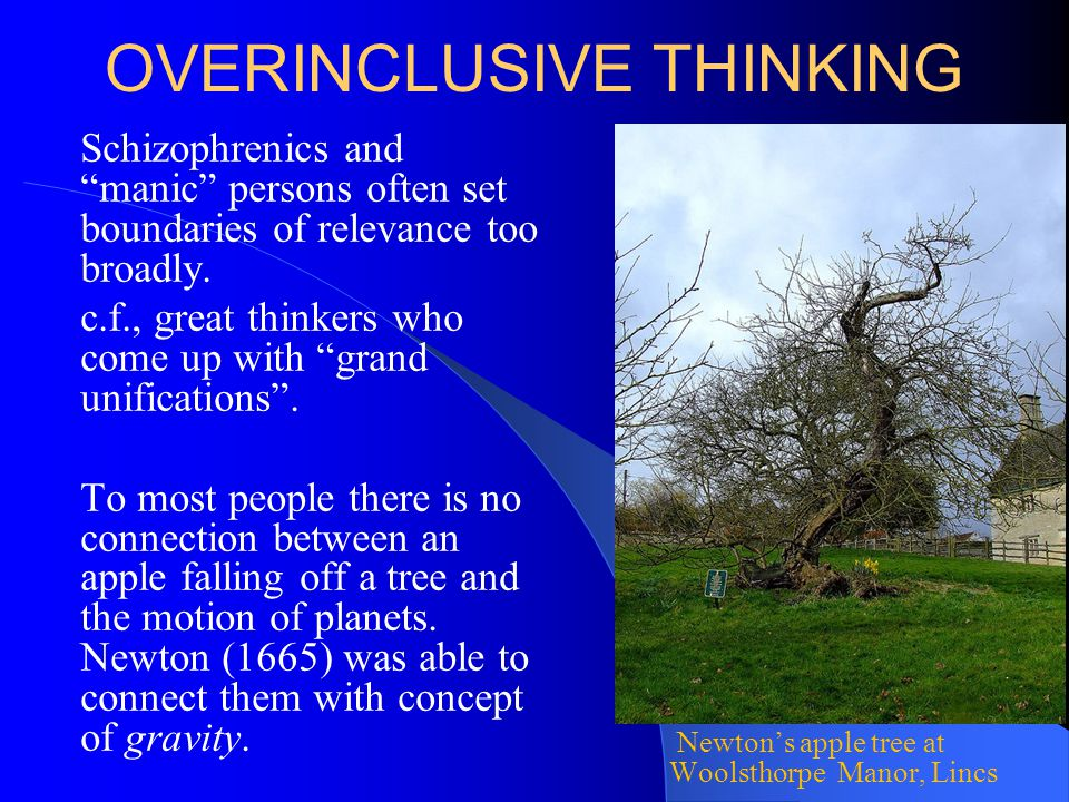 """OVERINCLUSIVE THINKING Schizophrenics and """"manic"""" persons often set boundaries of relevance too broadly. c.f., great thinkers who come up with """"grand"""