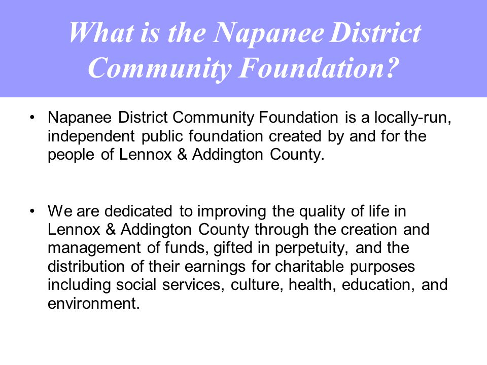 What is the Napanee District Community Foundation.