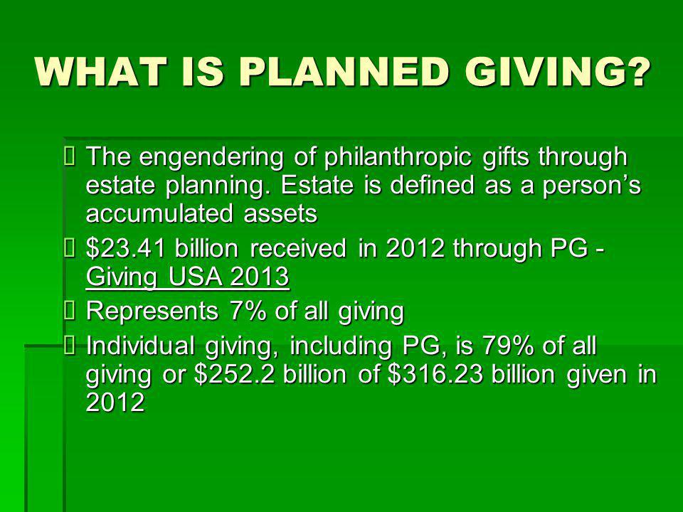 WHAT IS PLANNED GIVING?  The engendering of philanthropic gifts through estate planning. Estate is defined as a person's accumulated assets  $23.41
