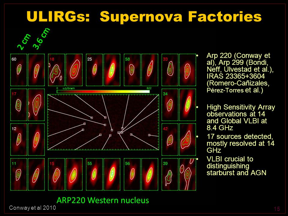 15 ULIRGs: Supernova Factories Arp 220 (Conway et al), Arp 299 (Bondi, Neff, Ulvestad et al.), IRAS 23365+3604 (Romero-Cañizales, Pérez-Torres et al.) High Sensitivity Array observations at 14 and Global VLBI at 8.4 GHz 17 sources detected, mostly resolved at 14 GHz VLBI crucial to distinguishing starburst and AGN Conway et al 2010