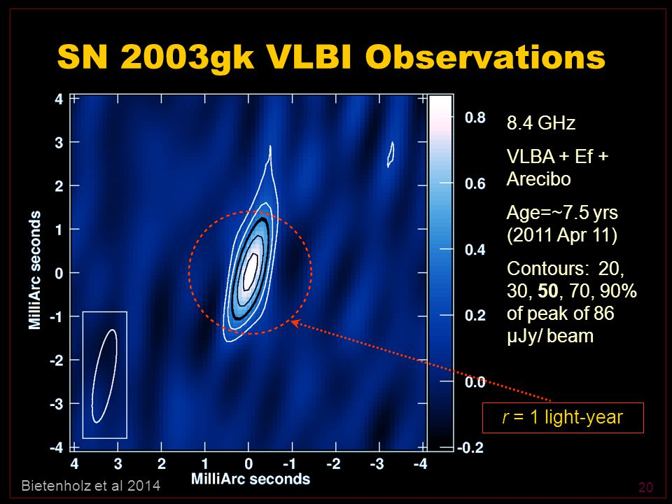 20 SN 2003gk VLBI Observations 8.4 GHz VLBA + Ef + Arecibo Age=~7.5 yrs (2011 Apr 11) Contours: 20, 30, 50, 70, 90% of peak of 86 μJy/ beam r = 1 light-year Bietenholz et al 2014