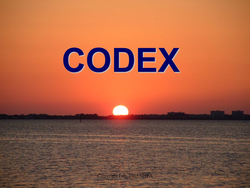 Copyright Feb. 2005 NHFA1 CODEX