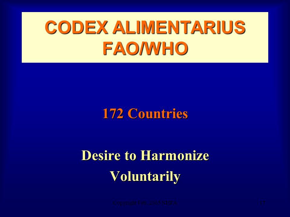 Copyright Feb. 2005 NHFA17 CODEX ALIMENTARIUS FAO/WHO 172 Countries Desire to Harmonize Voluntarily