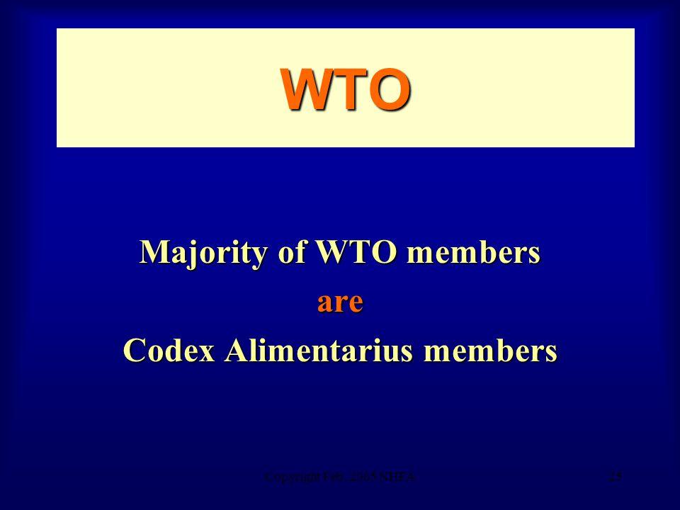 Copyright Feb. 2005 NHFA25 WTO Majority of WTO members are Codex Alimentarius members