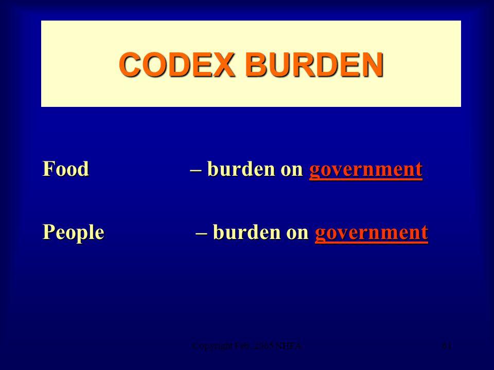 Copyright Feb. 2005 NHFA61 CODEX BURDEN Food – burden on government People – burden on government