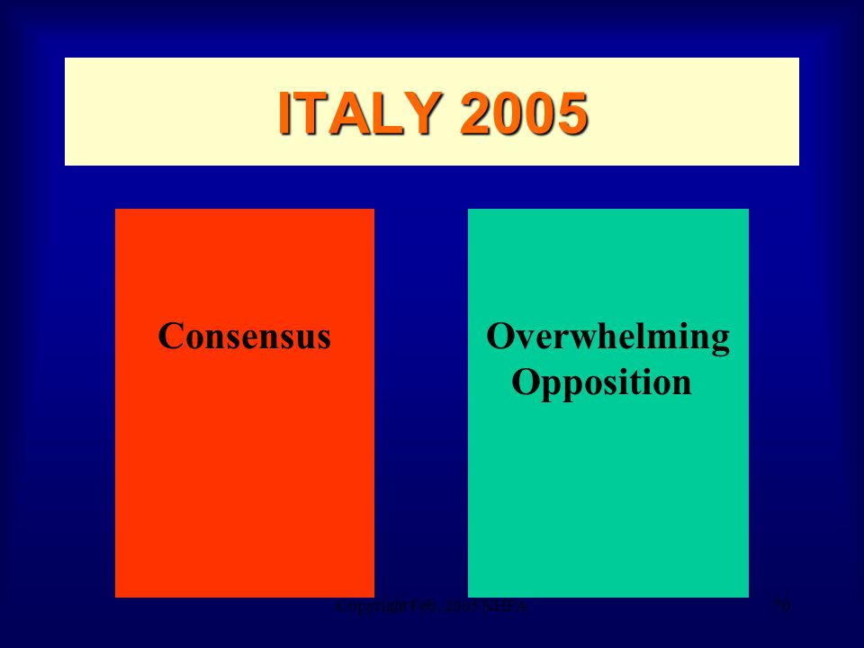 Copyright Feb. 2005 NHFA70 ITALY 2005 ConsensusOverwhelming Opposition
