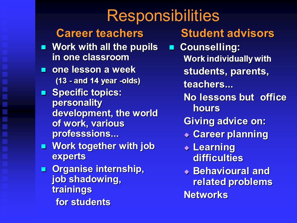 Responsibilities Career teachers Work with all the pupils in one classroom Work with all the pupils in one classroom one lesson a week one lesson a we