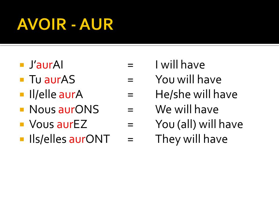  J'aurAI=I will have  Tu aurAS=You will have  Il/elle aurA=He/she will have  Nous aurONS=We will have  Vous aurEZ=You (all) will have  Ils/elles aurONT=They will have