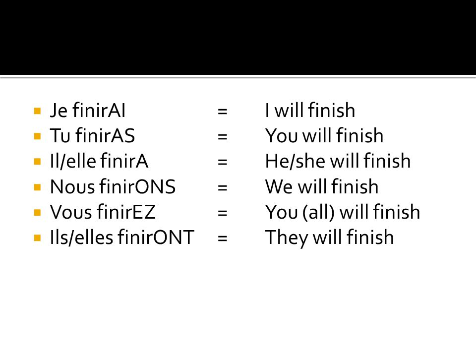  Je finirAI=I will finish  Tu finirAS= You will finish  Il/elle finirA=He/she will finish  Nous finirONS=We will finish  Vous finirEZ=You (all) will finish  Ils/elles finirONT=They will finish