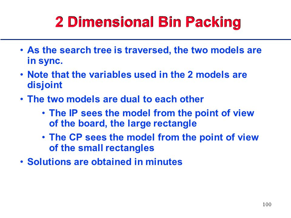99 Solving 2-D Bin Packing Use CP to generate partial solutions (nodes) Restrict placement to reduce fragmentation of blank space Use tight LP to test feasibility If any partial solution is infeasible in the LP, prune the tree immediately CP constraints reduce the tree width LP allows us to prune quickly