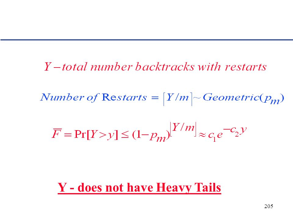 204 Sketch of proof of elimination of heavy tails Let's truncate the search procedure after m backtracks.