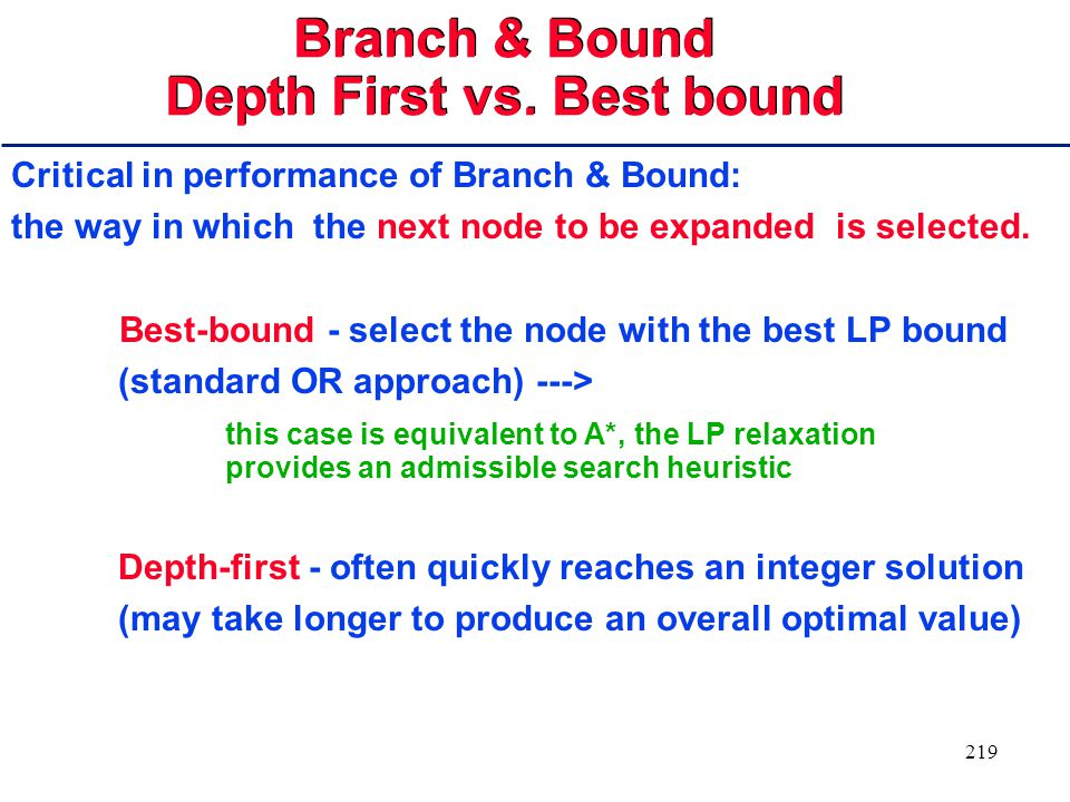218 Branch & Bound (Randomized) Standard OR approach for solving Mixed Integer Programs (MIPs) Solve linear relaxation of MIP Branch on the integer variables for which the solution of the LP relaxation is non-integer: apply a good heuristic (e.g., max infeasibility) for variable selection ( + randomization ) and create two new nodes (floor and ceiling of the fractional value) Once we have found an integer solution, its objective value can be used to prune other nodes, whose relaxations have worse values