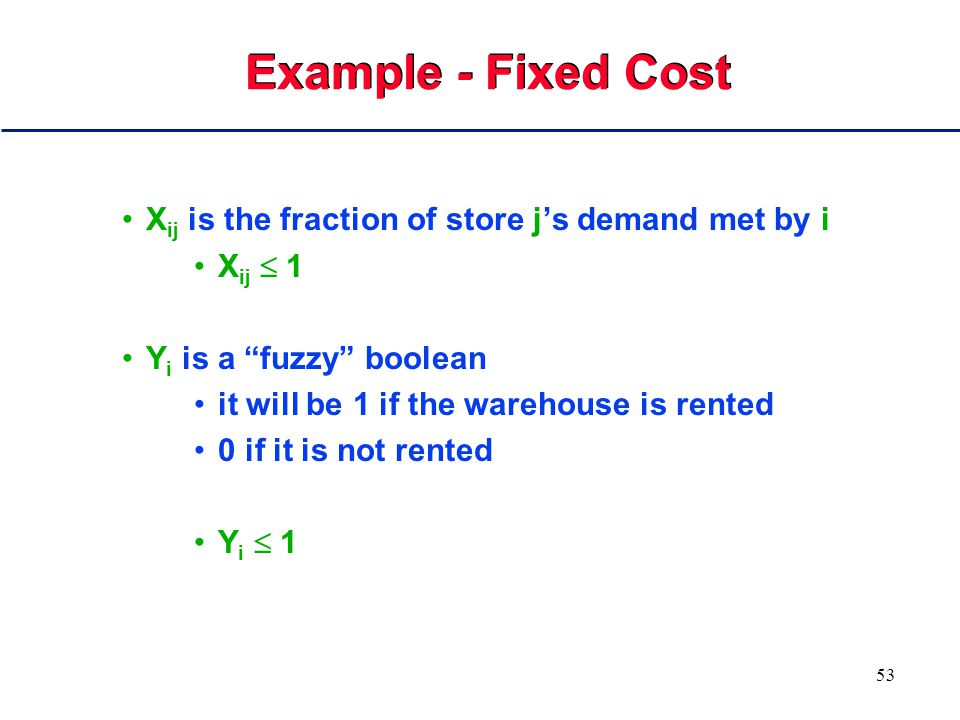 52 Example - Fixed Cost Warehouses must be rented in order to supply stores and we must decide which to use For each store j we know its monthly demand d j For each warehouse i we know its capacity k i For each warehouse i we know the fixed cost to run it each month fc i For each pair i, j we know the monthly cost c ij of supplying j from i