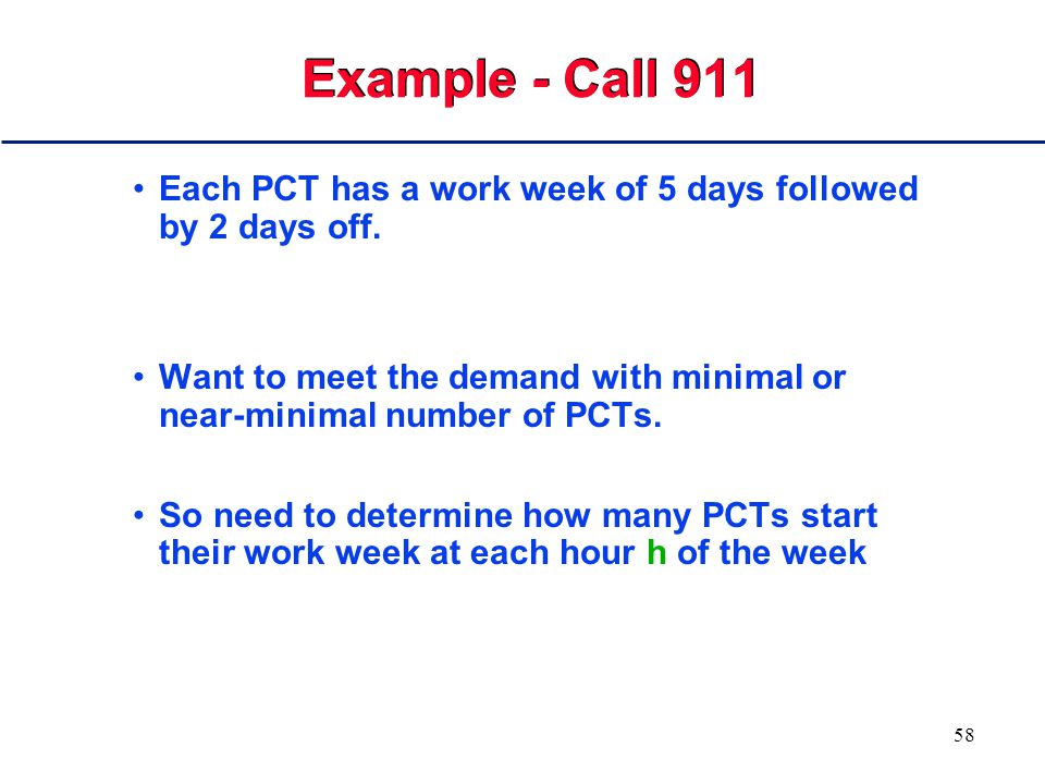 57 Example - Call 911 PCTs answer the phone 24 hours a day, 7 days a week.
