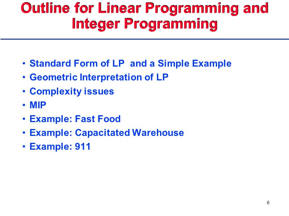 66 Solving the Integer Problem main() // Planner Code { IlcInitFloat(); IlcManager m(IlcNoEdit); IlcLinOpt simplex(m); IlcFloatVarArray Pct(m,168,0,1000); IlcFloatArray coeffs(m,168); int i,j,k,h,n;