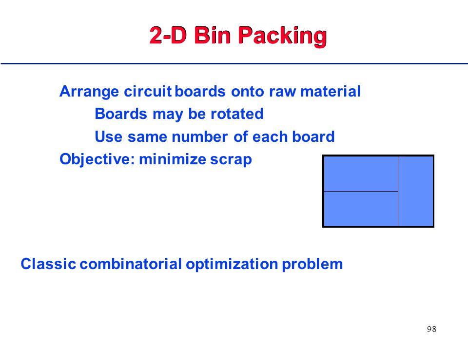 97 2 Dimensional Bin Packing The problem here is to put as many small rectangles in a big rectangle with 90 degree rotation allowed.