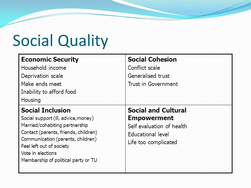 Social Quality Economic Security Household income Deprivation scale Make ends meet Inability to afford food Housing Social Cohesion Conflict scale Generalised trust Trust in Government Social Inclusion Social support (ill, advice,money) Married/cohabiting partnership Contact (parents, friends, children) Communication (parents, children) Feel left out of society Vote in elections Membership of political party or TU Social and Cultural Empowerment Self evaluation of health Educational level Life too complicated