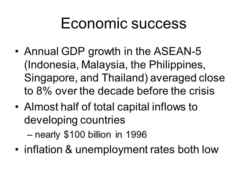 Economic success Annual GDP growth in the ASEAN-5 (Indonesia, Malaysia, the Philippines, Singapore, and Thailand) averaged close to 8% over the decade