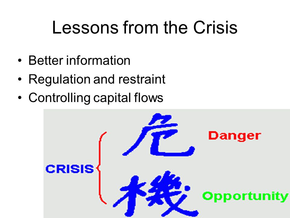 Lessons from the Crisis Better information Regulation and restraint Controlling capital flows