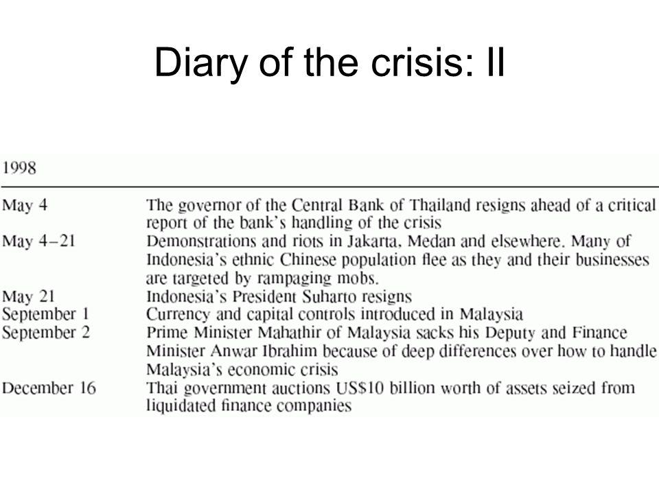 Diary of the crisis: II