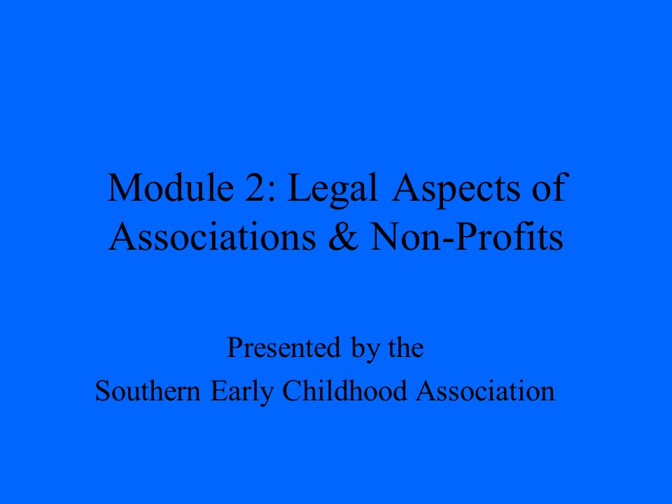 Module 2: Legal Aspects of Associations & Non-Profits Presented by the Southern Early Childhood Association