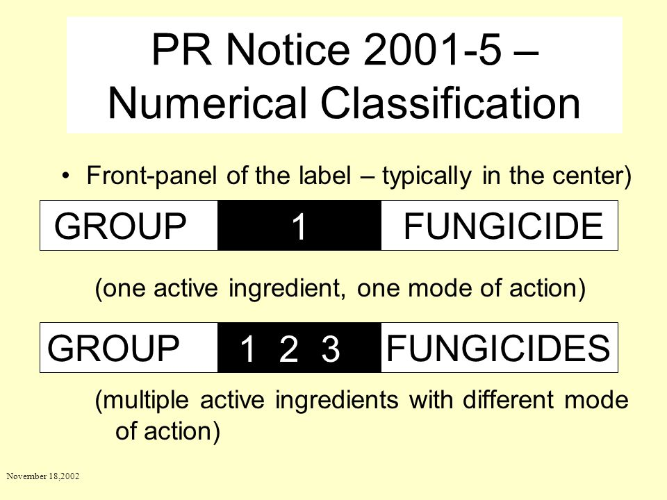 November 18,2002 Front-panel of the label – typically in the center) (one active ingredient, one mode of action) (multiple active ingredients with dif