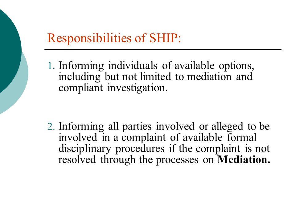 Responsibilities of SHIP: 1.