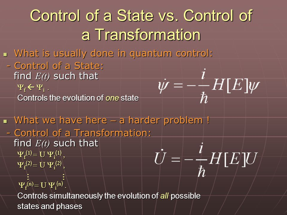 Control of a State vs.